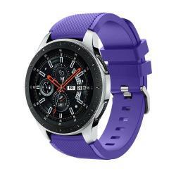 Okosóra szíj - szilikon, Twill mintás - LILA - 125mm + 98mm hosszú, 22mm széles, max 215mm-es csuklóra - SAMSUNG Galaxy Watch 46mm / SAMSUNG Gear S3 Classic / SAMSUNG Gear S3 Frontier
