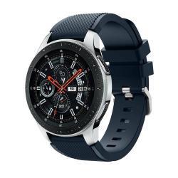 Okosóra szíj - szilikon, Twill mintás - SÖTÉTKÉK - 103mm + 92mm hosszú, 20mm széles, max 215mm-es csuklóra - SAMSUNG Galaxy Watch 46mm / SAMSUNG Gear S3 Classic / SAMSUNG Gear S3 Frontier