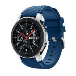 Okosóra szíj - szilikon, Twill mintás - VILÁGOSKÉK - 125mm + 98mm hosszú, 22mm széles, max 215mm-es csuklóra - SAMSUNG Galaxy Watch 46mm / SAMSUNG Gear S3 Classic / SAMSUNG Gear S3 Frontier