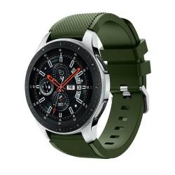 Okosóra szíj - szilikon, Twill mintás - ZÖLD - 125mm + 98mm hosszú, 22mm széles, max 215mm-es csuklóra - SAMSUNG Galaxy Watch 46mm / SAMSUNG Gear S3 Classic / SAMSUNG Gear S3 Frontier