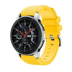 Okosóra szíj - szilikon, Twill mintás - SÁRGA - 125mm + 98mm hosszú, 22mm széles, max 215mm-es csuklóra - SAMSUNG Galaxy Watch 46mm / SAMSUNG Gear S3 Classic / SAMSUNG Gear S3 Frontier