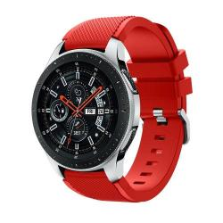 Okosóra szíj - szilikon, Twill mintás - PIROS - 125mm + 98mm hosszú, 22mm széles, max 215mm-es csuklóra - SAMSUNG Galaxy Watch 46mm / SAMSUNG Gear S3 Classic / SAMSUNG Gear S3 Frontier