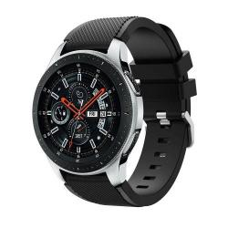 Okosóra szíj - szilikon, Twill mintás - FEKETE - 125mm + 98mm hosszú, 22mm széles, max 215mm-es csuklóra - SAMSUNG Galaxy Watch 46mm / SAMSUNG Gear S3 Classic / SAMSUNG Gear S3 Frontier