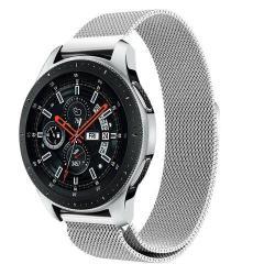 Okosóra szíj - rozsdamentes acél, mágneses - EZÜST - 234 mm hosszú, 20 mm széles, max 220mm-es csuklóra - SAMSUNG Galaxy Watch 46mm / SAMSUNG Gear S3 Classic / SAMSUNG Gear S3 Frontier