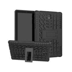 OTT! VROOM műanyag védő tok / hátlap - FEKETE - AUTÓGUMI MINTÁS - szilikon betétes, asztali tartó funkciós, ERŐS VÉDELEM! - SAMSUNG SM-T830 Galaxy Tab S4 10.5 (Wi-Fi) / SAMSUNG SM-T835 Galaxy Tab S4 10.5 (LTE)