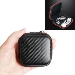 Fülhallgató / headset / USB kábeltartó tok - karbon mintás - cipzáras - FEKETE