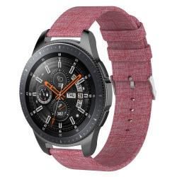 Okosóra szíj - szövet, 115mm + 90mm hosszú, 22mm széles - RÓZSASZÍN - SAMSUNG Galaxy Watch 46mm / SAMSUNG Gear S3 Classic / SAMSUNG Gear S3 Frontier