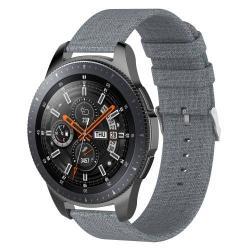 Okosóra szíj - szövet, 115mm + 90mm hosszú, 22mm széles - SZÜRKE - SAMSUNG Galaxy Watch 46mm / SAMSUNG Gear S3 Classic / SAMSUNG Gear S3 Frontier