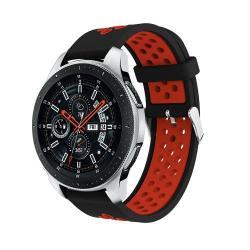 Okosóra szíj - légáteresztő, sportoláshoz, szilikon, max 205mm-es csuklóra - FEKETE / PIROS - SAMSUNG Galaxy Watch 46mm / SAMSUNG Gear S3 Classic / SAMSUNG Gear S3 Frontier