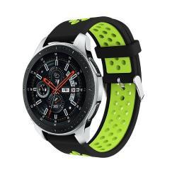Okosóra szíj - légáteresztő, sportoláshoz, szilikon, max 205mm-es csuklóra - FEKETE / ZÖLD - SAMSUNG Galaxy Watch 46mm / SAMSUNG Gear S3 Classic / SAMSUNG Gear S3 Frontier