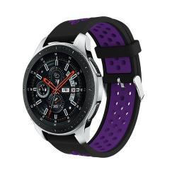Okosóra szíj - légáteresztő, sportoláshoz, szilikon, max 205mm-es csuklóra - FEKETE / LILA - SAMSUNG Galaxy Watch 46mm / SAMSUNG Gear S3 Classic / SAMSUNG Gear S3 Frontier
