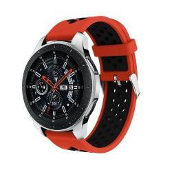 Okosóra szíj - légáteresztő, sportoláshoz, szilikon, max 205mm-es csuklóra - PIROS / FEKETE - SAMSUNG Galaxy Watch 46mm / SAMSUNG Gear S3 Classic / SAMSUNG Gear S3 Frontier