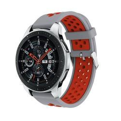 Okosóra szíj - légáteresztő, sportoláshoz, szilikon, max 205mm-es csuklóra - SZÜRKE / PIROS - SAMSUNG Galaxy Watch 46mm / SAMSUNG Gear S3 Classic / SAMSUNG Gear S3 Frontier