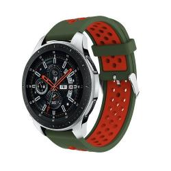 Okosóra szíj - légáteresztő, sportoláshoz, szilikon, max 205mm-es csuklóra - ZÖLD / PIROS - SAMSUNG Galaxy Watch 46mm / SAMSUNG Gear S3 Classic / SAMSUNG Gear S3 Frontier