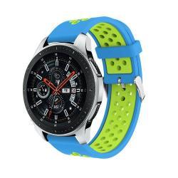 Okosóra szíj - légáteresztő, sportoláshoz, szilikon, max 205mm-es csuklóra - VILÁGOSKÉK / ZÖLD - SAMSUNG Galaxy Watch 46mm / SAMSUNG Gear S3 Classic / SAMSUNG Gear S3 Frontier