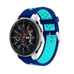 Okosóra szíj - légáteresztő, sportoláshoz, szilikon, max 205mm-es csuklóra - SÖTÉTKÉK / VILÁGOSKÉK - SAMSUNG Galaxy Watch 46mm / SAMSUNG Gear S3 Classic / SAMSUNG Gear S3 Frontier