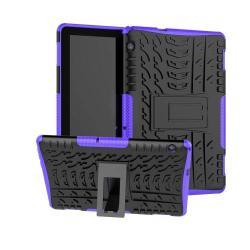 OTT! VROOM műanyag védő tok / hátlap - LILA - AUTÓGUMI MINTÁS - szilikon betétes, asztali tartó funkciós, ERŐS VÉDELEM! - HUAWEI MediaPad T5 10