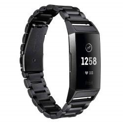 Fém okosóra szíj - FEKETE - rozsdamentes acél, csatos - Fitbit Charge 3