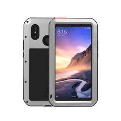LOVE MEI Powerful defender védő tok / hátlap - ütésálló, Gorilla Glass üveg, fém keret, szilikon betétes - EZÜST - Xiaomi Mi Max 3 - GYÁRI
