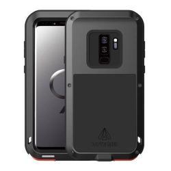 LOVE MEI Powerful defender védő tok / hátlap - ütésálló, fém keret, szilikon betétes - FEKETE - SAMSUNG SM-G965 Galaxy S9+ - GYÁRI