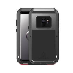LOVE MEI Powerful defender védő tok / hátlap - ütésálló, fém keret, szilikon betétes - FEKETE - SAMSUNG SM-G960 Galaxy S9 - GYÁRI