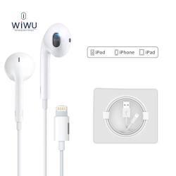WIWU SZTEREO HEADSET / James bond - Lightning csatlakozó, mikrofon, felvevő és hangerő szabályzó gomb + Lightning töltő aljzattal - FEHÉR