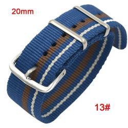 Okosóra szíj - szövet, 20mm széles - KÉK / BARNA / FEHÉR - SAMSUNG SM-R600 Galaxy Gear Sport / SAMSUNG SM-R810NZ Galaxy Watch 42mm / SAMSUNG SM-R720 Gear S2 Classic