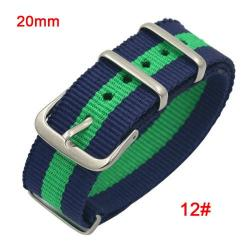 Okosóra szíj - szövet, 20mm széles - KÉK / ZÖLD - SAMSUNG SM-R600 Galaxy Gear Sport / SAMSUNG SM-R810NZ Galaxy Watch 42mm / SAMSUNG SM-R720 Gear S2 Classic