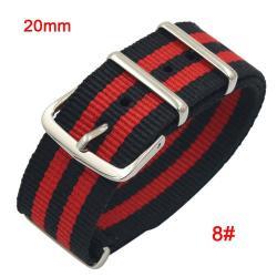 Okosóra szíj - szövet, 20mm széles - FEKETE / PIROS - SAMSUNG SM-R600 Galaxy Gear Sport / SAMSUNG SM-R810NZ Galaxy Watch 42mm / SAMSUNG SM-R720 Gear S2 Classic