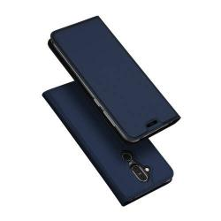 DUX DUCIS slim design notesz / mappa tok - SÖTÉTKÉK - oldalra nyíló flip cover, asztali tartó funkció, szilikon belső, mágneses záródás - NOKIA 7.1 Plus / NOKIA X7 / NOKIA 8.1 - GYÁRI