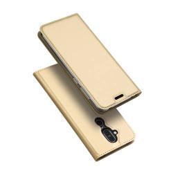 DUX DUCIS slim design notesz / mappa tok - ARANY - oldalra nyíló flip cover, asztali tartó funkció, szilikon belső, mágneses záródás - NOKIA 7.1 Plus / NOKIA X7 / NOKIA 8.1 - GYÁRI