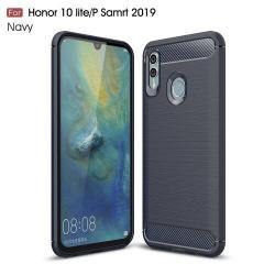 OTT! CARBON szilikon védő tok / hátlap - SÖTÉTKÉK - karbon mintás, ERŐS VÉDELEM! - HUAWEI P Smart (2019) / HUAWEI Honor 10 Lite