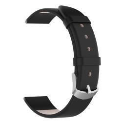 Okosóra szíj - FEKETE - valódi bőr, 118,5 + 88,5 mm hosszú, 20 mm széles - SAMSUNG SM-R600 Galaxy Gear Sport / SAMSUNG SM-R810NZ Galaxy Watch 42mm / SAMSUNG SM-R720 Gear S2 Classic