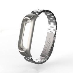 Okosóra szíj - EZÜST - rozsdamentes acél, 170-220mm-ig állítható, 13mm széles - Xiaomi Mi Band 3