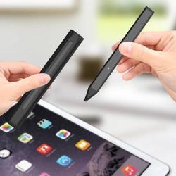 Érintőképernyő ceruza - kapacitív kijelzőkhöz, aktív érzékelő technológia, beépített újratölthető akkumulátorral, tolltartóval, kézírásra, rajzolásra is alkalmas - FEKETE