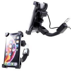UNIVERZÁLIS motoros telefon tartó - 360°-ban forgatható, állítható bölcsővel, USB töltő aljzattal, 4-6