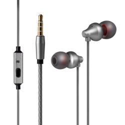 UNIVERZÁLIS sztereo headset - 3,5mm jack csatlakozó, beépített mikrofon - SZÜRKE