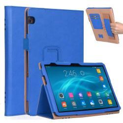 Notesz tok / mappa tok - KÉK - asztali tartó funkciós, oldalra nyíló, bankkártya tartó, csuklópánt, műbőr belső - HUAWEI MediaPad T5 10