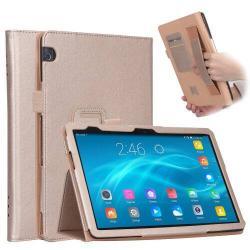 Notesz tok / mappa tok - ARANY - asztali tartó funkciós, oldalra nyíló, bankkártya tartó, csuklópánt, műbőr belső - HUAWEI MediaPad T5 10