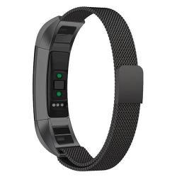 Fém okosóra szíj - FEKETE - fém háló kialakítás, mágneses - Fitbit Alta HR