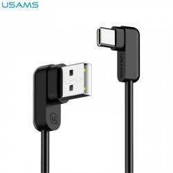 USAMS adatátviteli kábel / USB töltő - USB 2.0 Type C, 90°-os derékszögű, 120cm hosszú - FEKETE