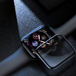 BASEUS előlap védő karcálló edzett üveg - 1db, 0,3mm, 9H - A TELJES ELŐLAPOT VÉDI! - FEKETE - Apple Watch Series 4 40mm