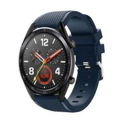 Okosóra szíj - szilikon, Twill mintás - 77mm + 104mm hosszú, 20mm széles - SÖTÉTKÉK - HUAWEI Watch GT / HUAWEI Watch Magic