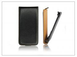 NOKIA 300 AshaSlim Flip bőrtok - Nokia 300 - fekete