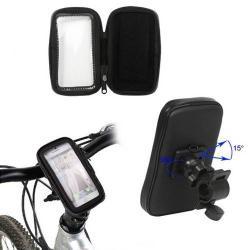 UNIVERZÁLIS telefon tartó kerékpár / bicikli (vízhatlan/vízálló, forgatható, tok cipzáras) FEKETE
