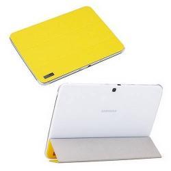 ROCK ELEGANT műanyag védő tok / hátlap - oldalra nyíló bőr flip, asztali tartó funkciós - SÁRGA - SAMSUNG P5200 Galaxy Tab 3 10.1 / SAMSUNG P5210 Galaxy Tab 3 10.1