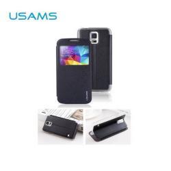 USAMS STARRY SKY műanyag védő tok / bőr hátlap - oldalra nyíló S-View Cover flip, hívószámkijelzéshez kivágás - FEKETE - SAMSUNG SM-G900F Galaxy S5