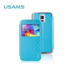 USAMS STARRY SKY műanyag védő tok / bőr hátlap - oldalra nyíló S-View Cover flip, hívószámkijelzéshez kivágás - KÉK - SAMSUNG SM-G900F Galaxy S5