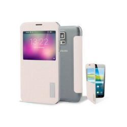 ROCK ELEGANT műanyag védő tok / hátlap - oldalra nyíló S-View Cover flip - RÓZSASZÍN - SAMSUNG SM-G900F Galaxy S5