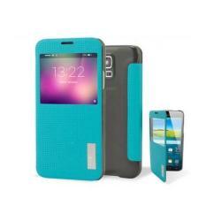 ROCK ELEGANT műanyag védő tok / hátlap - oldalra nyíló S-View Cover flip - TÜRKIZ KÉK - SAMSUNG SM-G900F Galaxy S5